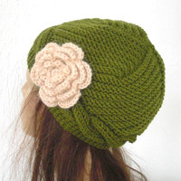 Hand knit hat - Victorian  Hat  in Olive Green  with flower - Spring Fashion   Beanie Winter Autumn Spring  Accessories mothers day