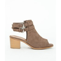 Missguided - Lily Peep Toe Cut Out Shoe Boots Mocha