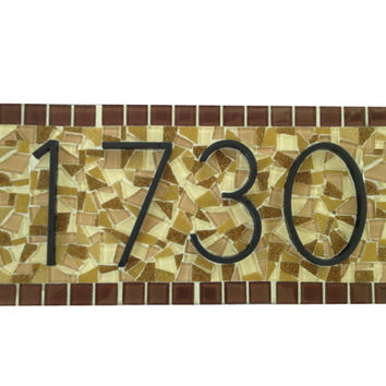 Brown and Tan Outdoor House Number Sign Custom Mosaic Address