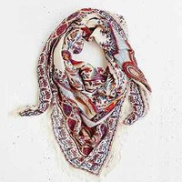 Tapestry Fringe Square Scarf - Urban Outfitters