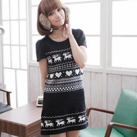 CatWorld- Short-Sleeve Deer-Print Knit Dress