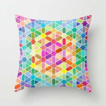Magical Thinking - Rainbow Honeycomb with Stars Throw Pillow by micklyn