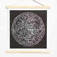 Curious Prints Constellation Hanging Dowel Print - Black One