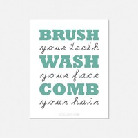 Bathroom Reminders Children&#x27;s Typography Art Print (8X10)