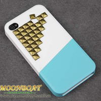 Combination Cover Up And Down With Brass Pyramid Stud For Apple iPhone 4 ,  iPhone 4 Hard Case, iPhone Case MB569