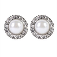 Pearl Stud Earrings with Crystal Stones
