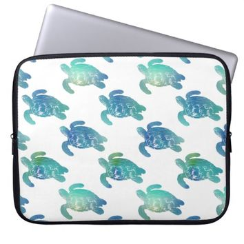 Sea Turtle Blue Green Laptop Sleeve