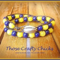 Double-Wrap WVU Bracelet from The Crafty Warrior