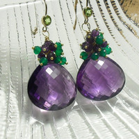 Christmas in July Sale Amethyst Green Onyx Gold Earrings