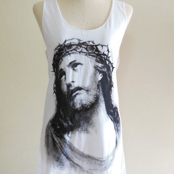 Jesus Christ Christian Jerusalem God  -- Jesus Shirt Women Tank Top Vest Tunic Top Sleeveless Singlet White T-Shirt Size S , M