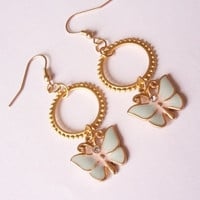 small hoop earrings, dangling earrings, butterfly earrings, gold plated earrings by SABOTAGEandCO