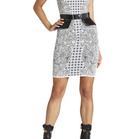 White BCBG Jazmyne Tribal Jacquard Dress
