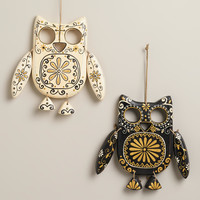 Black and Ivory Wooden Owl Wall Decor, Set of 2 - World Market