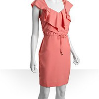 Calvin Klein salmon crepe tie waist ruffle front dress | BLUEFLY up to 70% off designer brands