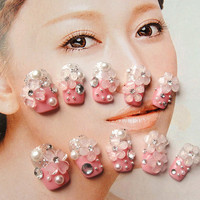 kawaii DIY japanese gyaru fake nails art.  you can choose the silver or pink.