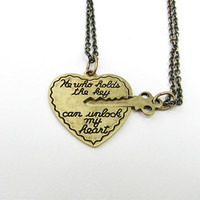 he who holds the key - 2 necklace set in antiqued gold