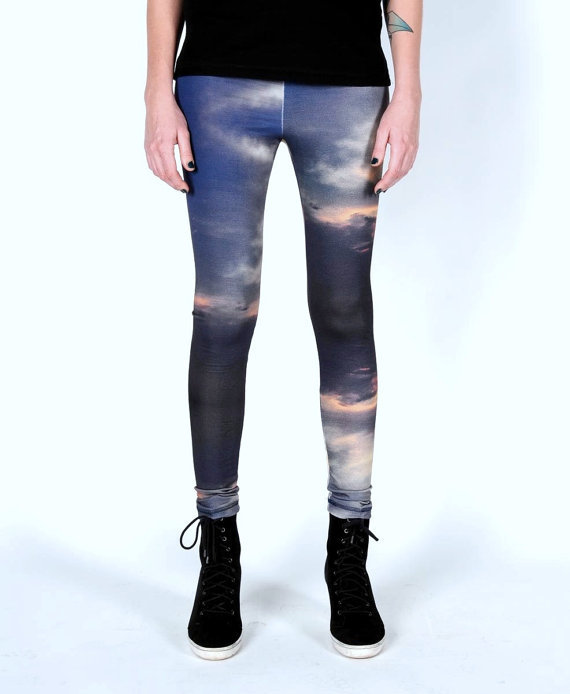 CLOUDS pattern.Summer ultra light Woman ECO friendly BAMBOO leggings.Size s/m