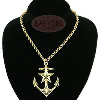 Kitsch 'n' Kouture Gold Plated Anchors Away Rockabilly Anchor Necklace