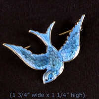 Anne Koplik Jewelry - Darling Blue Enamel Rockabilly Sparrow Bird Pin or Brooch