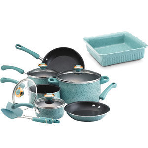 Paula Deen 12-piece Aqua Porcelain Enamel Cookware Set and Bonus Baking Dish: Kitchen &amp; Dining