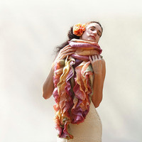 Felted scarf Peach Felted long boa scarf with ruffles MADE TO ORDER