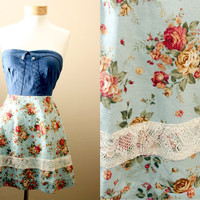 LAST ONE 40off - Lace, Floral, Strapless, Sundress, with Denim, Corset, Style Bodice