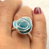 Turquoise Enamel Metalwork Unique Rose Ring - Size 5 1/2 - 7 - 8