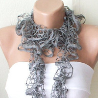 SALE % 20 - Was 15 Now 12- SKY Grey Color Web lace Handmade Crochet Scarf