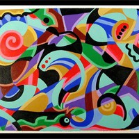 MIND PLAY Original Acrylic Abstract Painting on Crecent Board