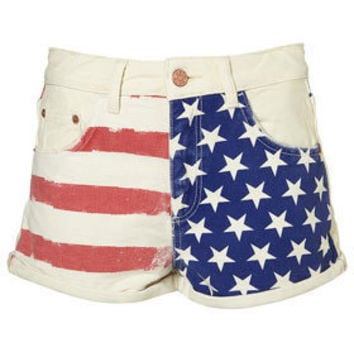 MOTO Flag Printed Hotpants - Shorts  - Apparel