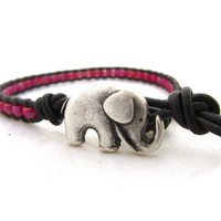 Lucky Elephant Ruby Rainbow Mini Wrap Bracelet BoHo Chic Czech Seed Bead. Red Shimmer Beach Wrap on Brown Greek Leather