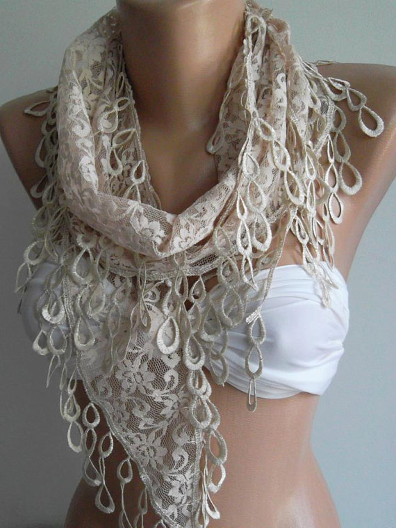 Beige - Elegance  Shawl -- Scarf with Lacy Edge..