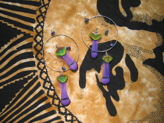 Feather Earrings Purple Green Dream Catcher