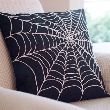 Spider Web Pillow Cover Arachnophobia Spiderweb Halloween Decor 18 x 18