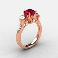 18K Rose Gold Garnet Diamond Wedding Ring, Engagement Ring NN101-18KRGDG