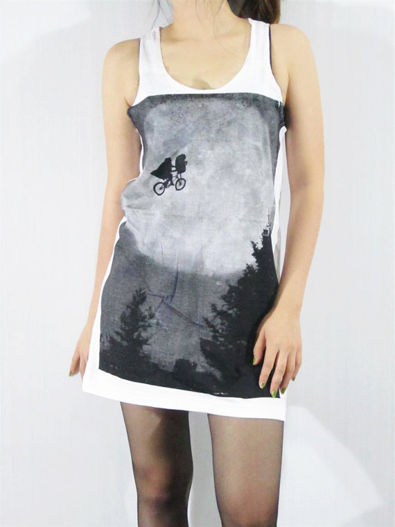 E.T. The Movie E.T. The Extra Terrestrial Hollywood Movie Long Tank Top Women Sleeveless White Tunic Top Vest Singlet Movie T-Shirt Size M