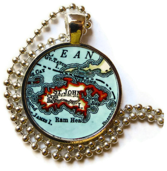 St. John Virgin Islands necklace pendant charm, St. John map necklace, photo pendant by location inspirations