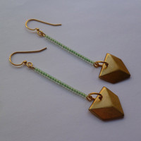 Mint chevron earrings