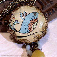 Picture Necklace - Bird Necklace - Bird In Tree - Retro - Peach Blue Yellow - Vintage Style Jewelry