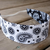 Women's Reversible Fabric Headband - Black white paisley cotton teen adult - #handmade #etsy