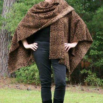 Chocolate Brown Cheetah Print Shawl - Double Sided Microfleece Wrap