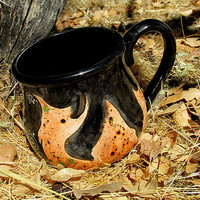 Cauldron mug kiln fired pottery Halloween ceramic mug coffee tea brew orange black