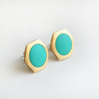 Turquoise green circle Geometric Hexagon stud earring