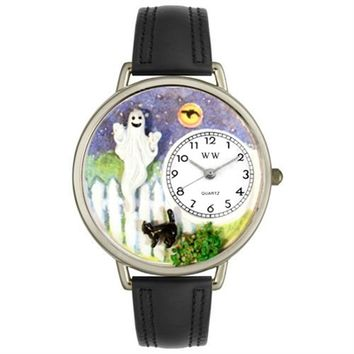 SheilaShrubs.com: Whimsical Unisex Halloween Ghost Black Skin Leather Watch DDDSD557938 by Whimsical Watches : Watches