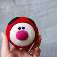 Needle Felted WOOLY Ladybug  Jingle Ball Toy Made to Order