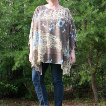 Beige Blue Floral Sheer Poncho XL Tunic, Beach Cover Up, Plus Size