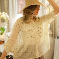 Cream Sheer Loose Floral Print Shirt