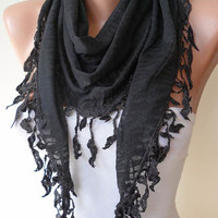 Black Scarf  with Black Trim Edge - Triangular - Leopard Fabric