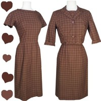 Vintage 50s 60s BOLERO Dress Set Pinup Rockabilly PLAID S M BROWN Cotton Sheath