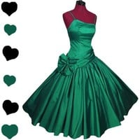 Vintage 80s GREEN Full Skirt Party PROM Dance Dress XS S BOW Christmas Circle